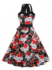 Women's Vintage Retro Halter Skull Rose Print Halloween Party Swing Dress