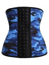 Camouflage Sports Steel Boned Latex Waist Trainer Waist Training Corset - Blue