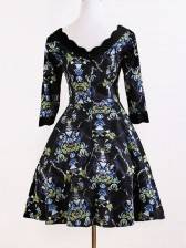 Gothic Vintage Floral Print Prom Dress