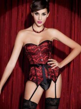 Burlesque Showgirl Satin & Lace Overlay Corset - Red