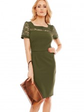 Women's Fashion Square Neck Floral Lace Short Sleeve High Waist Bodycon Dress