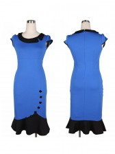 Women's Vintage Scoop Neck Contrast Bridesmaid Cocktail Bodycon Wiggle Dress Blue