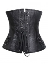 Punk Fashion Black Steel Bone Artificial Leather Weave Underbust Corset