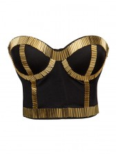 Gold Metal Stick Black Underwire B cup Bustier Crop Top Bra