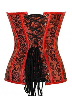 Steel Boned Red Flower Embroidered Over Bust Corset