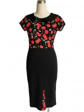 Vintage 1950's Cherry Print Office Lady Rockabilly Party Bodycon Dress