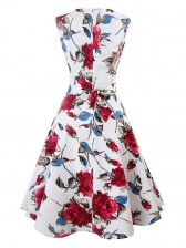 Elegant 1950's Vintage Floral Print Sleeveless Casual Cocktail Party Swing Dress Red White