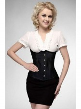 26 Steel Bones Comfortable Black Satin Busk Closure Underbust Corset
