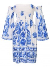Women's Sexy Off Shoulder 3/4 Sleeves Floral Print Dress