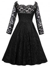Charming Sweetheart Neck Long Sleeves Floral Lace Cocktail Party Swing Dress