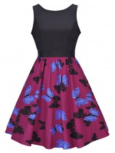 Women's Vintage Sleeveless Floral Swing Dress With Belt Red Blue