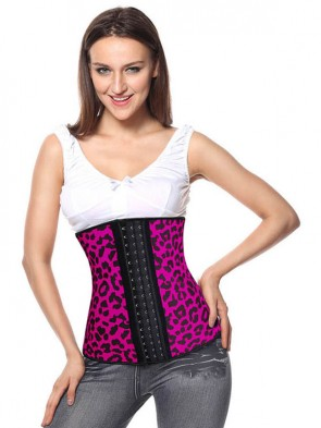 Sexy Hot-Pink Steel Bone Latex Leopard Patterns Underbust Corset