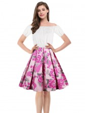 Sexy White Short Sleeve Off Shoulder Crop Top and High Waisted Skirt Set