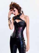 Women's Steampunk Purple Steel Boned One-shoulder Leather Spiral Stripe Shape Overbust Corset