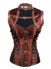 Steampunk Sexy Brown Jacquard Steel Boned High Neck Corset with Jacket