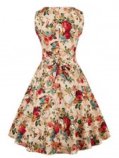 Elegant 1950's Vintage Floral Print Sleeveless Swing Dress Apricot