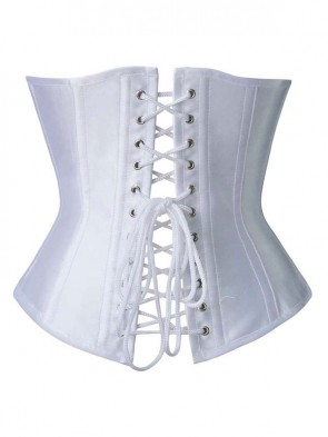 Fashion Elegant White Satin Steel Bone Four Busk Closure Underbust Corset