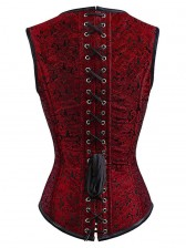Steampunk Faux Gothic Vintage Sprial Steel Boned Bustier Corset Red