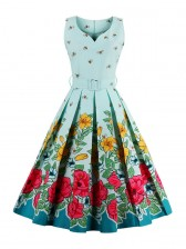 50s Style Retro Cartoon Print A line Garden Cocktail Dress
