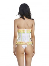 Sexy White and Yellow Ruffle Trim Waist Cincher Bustier Corset