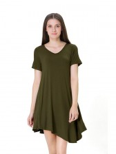 Women's V Neck Short Sleeve Loose Irregular T-shirt Dress Army Green