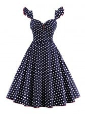 1950s Vintage Sleeveless Polka Dot A line Casual Cocktail Dress