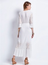 Plain Lace Patchwork Ankle-Length Maxi Dress