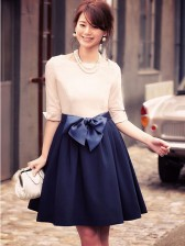Graceful Women's Round Neck Half Sleeve Joint Party Dress