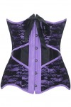 Steel Boned Lace Overlay Purple Satin Under Bust Corset