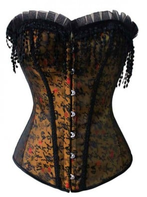 Mysterious Women Brocade Embroidery Boned Overbust Corset