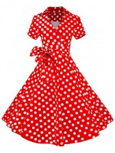 Red Polka Dot Short Sleeves Swing Rockabilly Ball Party Dress Costume