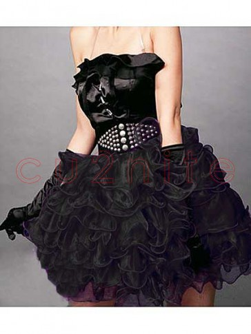 Black Burlesque Ruffle Tiered Skirt