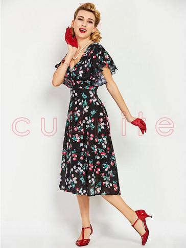 Sexy Women's V Neck Reffuled Short Sleeve Floral Print Swing Dress