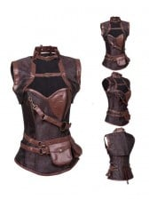 Steampunk Brown Steel Boned High Neck Jacquard Corset with Jacket