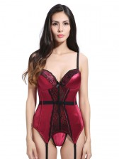 Sexy Lace Patchwork Babydoll Lingerie Chemise