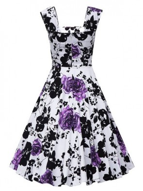 Vintage Square Neck Sleeveless Floral Print Dress For Women Purple