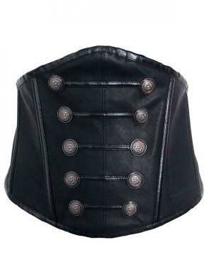 Black Womens Steampunk Button Lace Up Underbust Corset