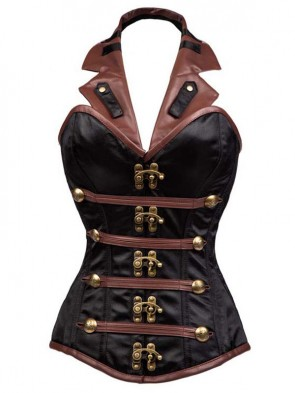 Retro Sexy Black and Brown Halter Steel Boned Outerwear Corset