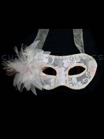 White Lace Masquerade Mask with Flower