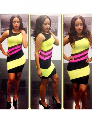 Multi Color Neon Bodycon Dress