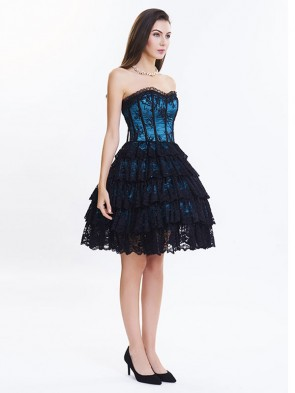 Victorian Elegant Sweetheart Neck Strapless Lace Overlay A-line Corset Dresses Dark Blue