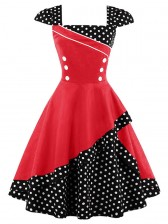 1960's Vintage Style Polka Dot Print Cocktail Party Dress Red