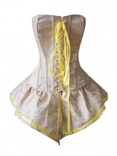 Palace Style Yellow Brocade Lace-up Corset with Skirt