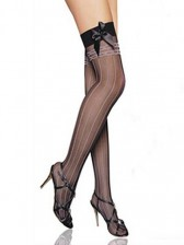 Sheer Vertical Stripes Thigh High with Black Bow