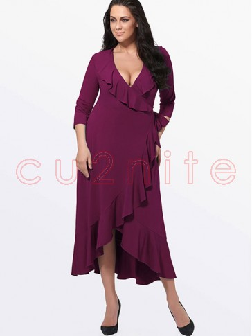 Sexy Solid Color Deep V Neck 3/4 length Sleeve Falbala Plus Size Maxi Dress