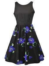 Women's Vintage Sleeveless Floral Swing Dress With Belt Black Blue
