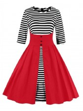 Vintage Stripes Patchwork Half Sleeves Casual Cocktail Party Dress