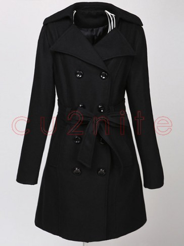 Women's Elegant Double-Breasted Wool Long Trench Coat with Belt