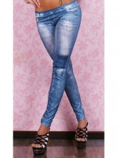 Blue Denim Printed Leggings