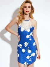 Summer Sleeveless Halter Floral Printed Patchwork Bodycon Dress
